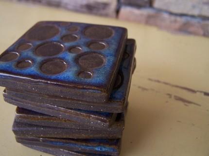Square Polka Dot Decorative Tiles by mudandfiber