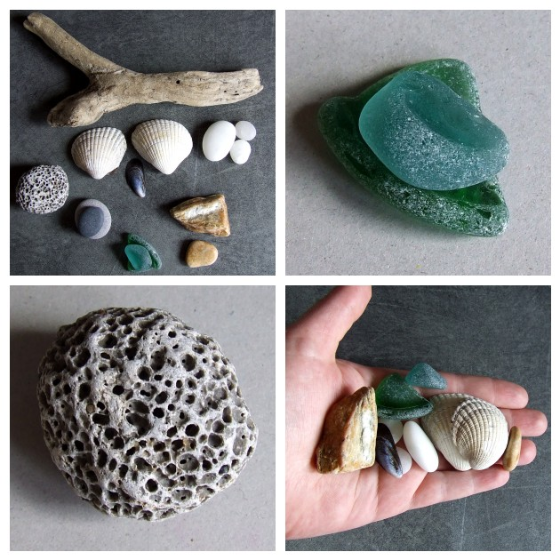 collecting nature sea glass drift wood