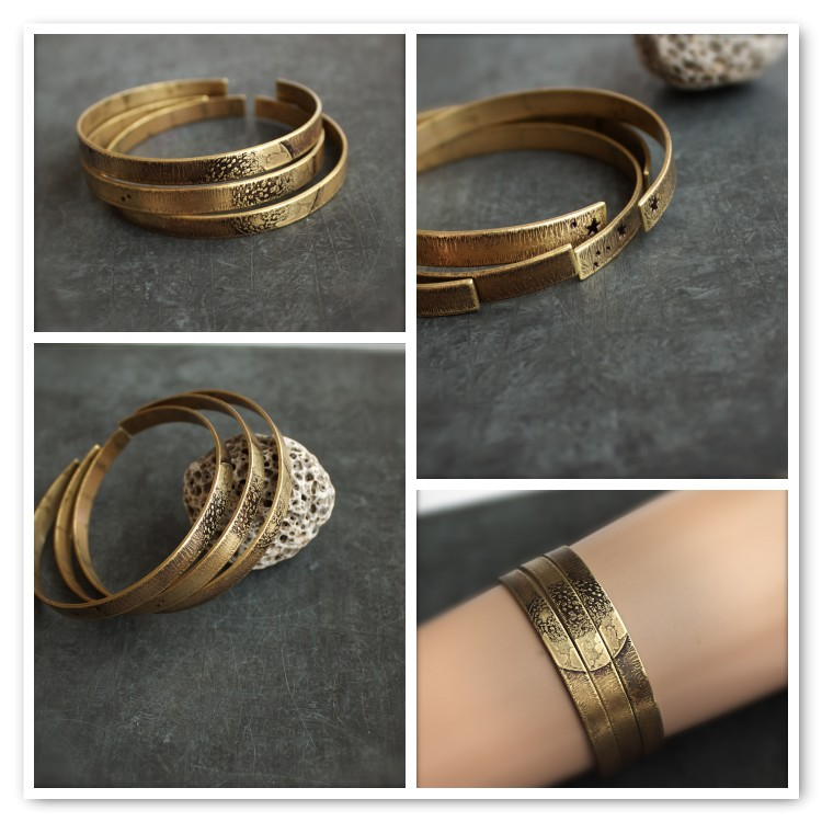Etched Brass Cuff Bracelet Set Full Moon Metalwork Space Jewellery