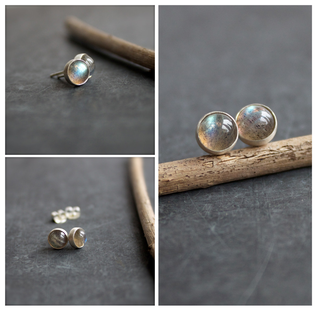 Labradorite Sterling Silver Stud Post Earrings