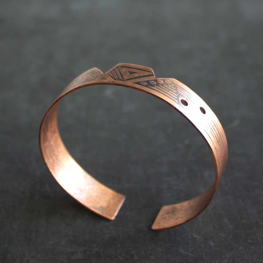etched copper cuff bracelet