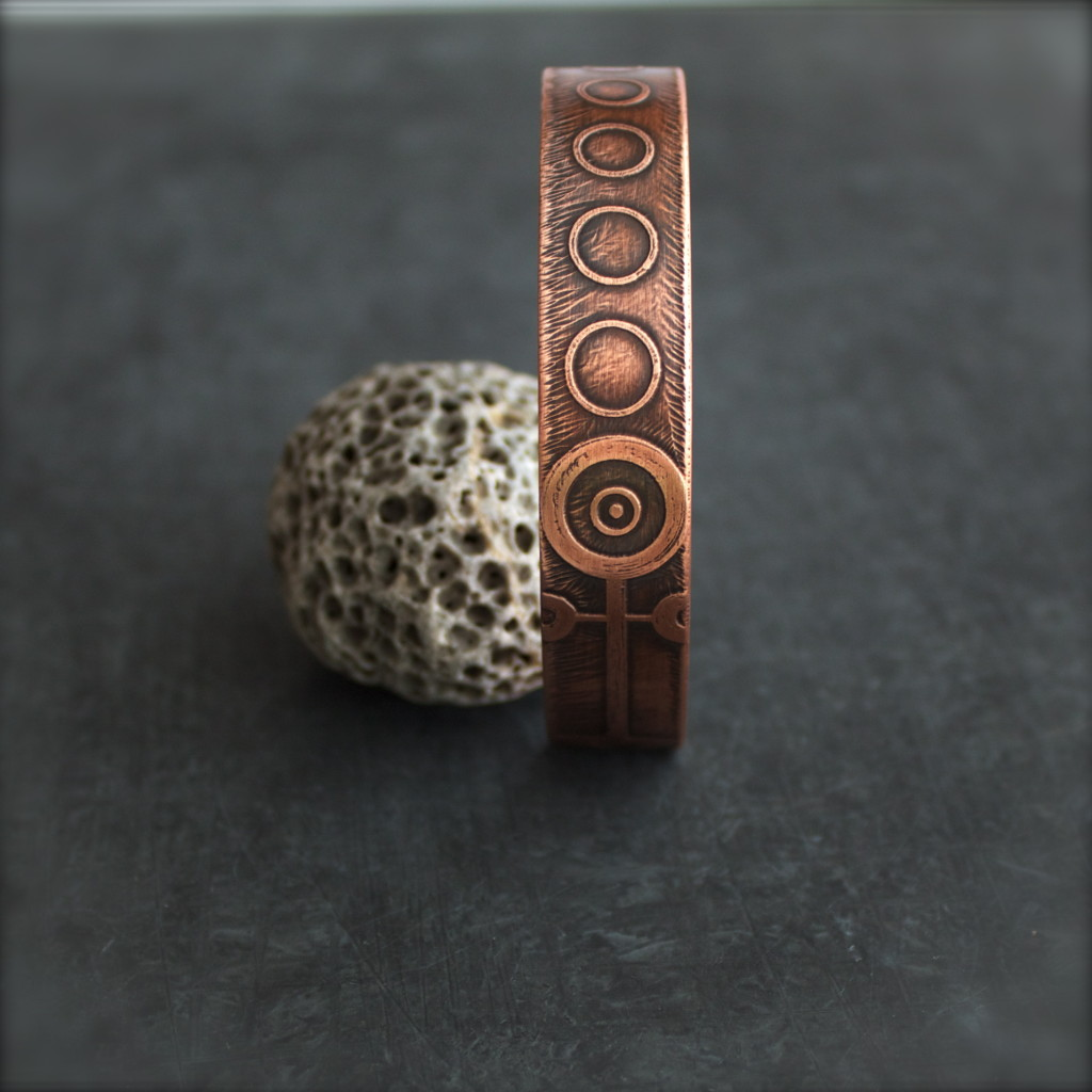 etched copper crop circle cuff bracelet
