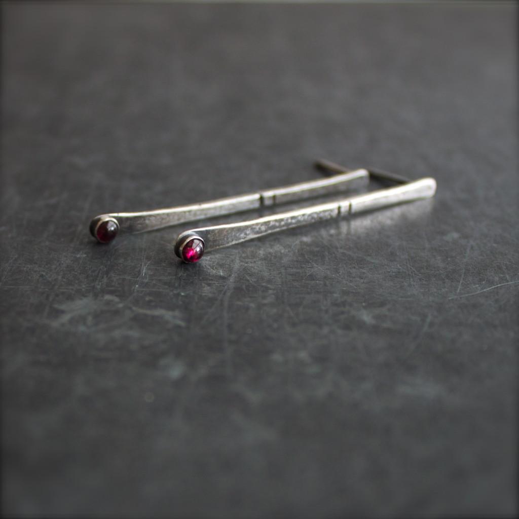 sterling garnet post earrings