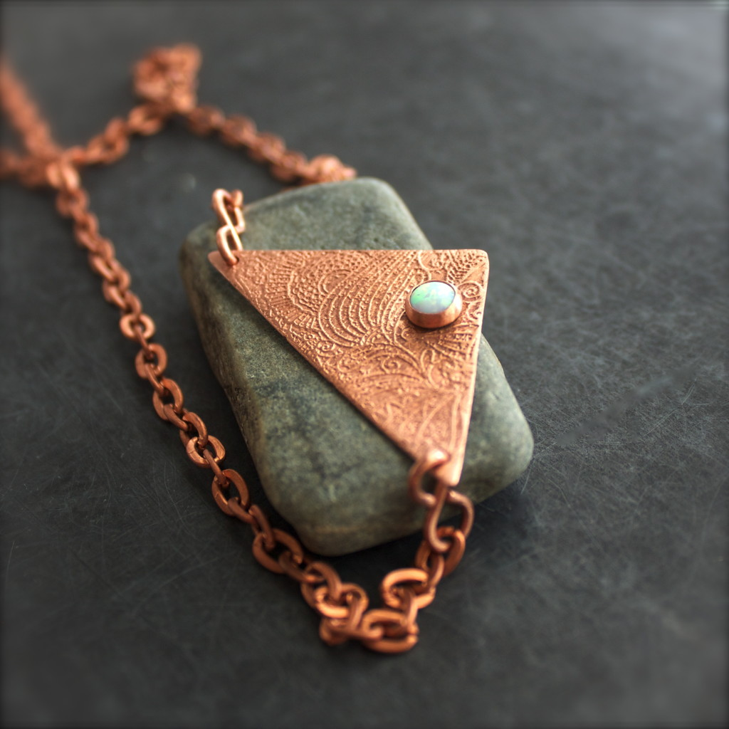 etched copper opal necklace